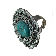 R-1202 Bohemian Vintage Turquoise Tibetan Silver Oval Big Size Adjustable Exaggerated Rings for Women Jewelry