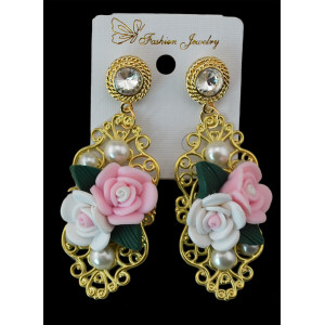 E-3466 European style gold plated alloy luxury rose glass gemstone exaggerated key earrings fashion jewelry
