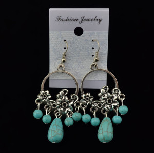 E-3464 Bohemian Vintage Style Silver Plated Alloy Turquoise Dangle Drop Earrings for Women