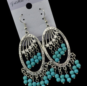E-3463 Bohemian style vinage silver carving 2 row blue bead taasel hanging earrings