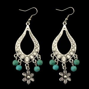 E-3474 Bohemian flower pendant earring silver plated alloy turquoise dangle drop earrings for Women