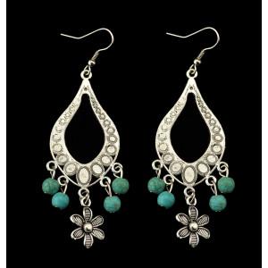 E-3474 Bohemian flower pendant earring silver plated alloy turquoise dangle drop earrings for Women