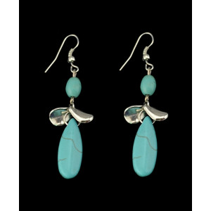 E-3479 Bohemian Vintage Style Silver Plated Alloy Turquoise Water Drop Long Dangle Drop Earrings for Women