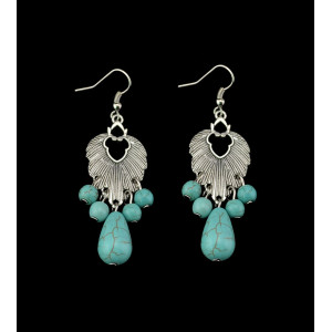 E-3480 Bohemian Vintage Style Silver Plated Alloy Turquoise leaf Water Drop Long Dangle Earrings for Women