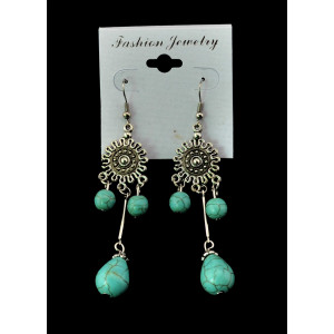 E-3475 Bohemian Vintage Style Silver Plated Alloy Turquoise Water Drop Long Dangle Drop Earrings for Women