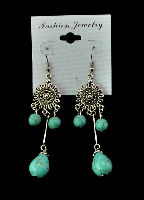 E-3475 Bohemian Vintage Style Silver Plated Alloy Turquoise Water Drop Long Dangle Drop Earrings for Women