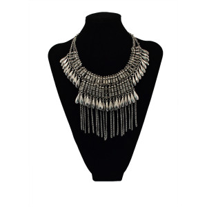 N-5473 European 2015 new design statement necklace gold/silver plated pendant tassel necklaces choker for fashion women