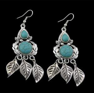 E-3476 Bohemian style silver plated turquoise gem stone leaf shape pendant
