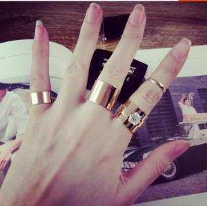 R-1209 Fashion punk street  flash diamond crystal ring ring ring Korean  female finger ring set (4 pcs)