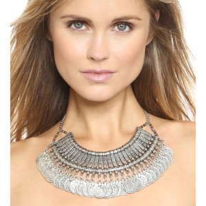 N-5048  Bohemia Vintage Style Golden Silver Zamac Jewelry Handcraft Carving Metal Coin Fringe Statement Necklace Boho Gypsy Beachy Ethnic Tribal Festival Jewelry Turkish