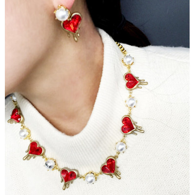 N-5476  E-3472 European style  pearl heart-shaped red ruby stone necklace earrings sets