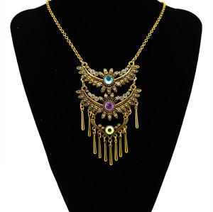 N-5488 New Design Bohemian Vintage Gold Plated Alloy Retro  Crystal Flower Rivet Long Tassel Pendant Necklace for Women