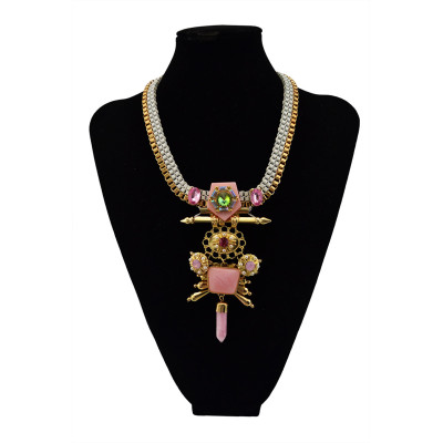 N-5492 New Design Gypsy gold platd chunky chain opal crystal natural gem stone pendant necklace