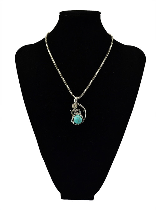 N-5497 Bohemian New Fashion Women Long Chain Crystal Turquoise Owl Pendant Necklace