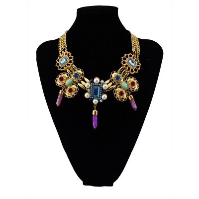 N-5504 New Design Gypsy Gold Platd Chunky Chain Opal Crystal Natural Gemstone Pendant Necklace