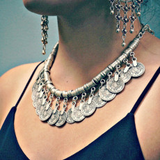 N-5115 Silver TURKISH Carving Hollow Out Coin Necklace Rhinestone floral design. Boho Gypsy Beachy Ethnic Tribal Festival Jewelry Turkish Bohemian