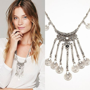 N-5370 Spanish style silver plated coin tassel gems exaggerated long sweater chain necklaces