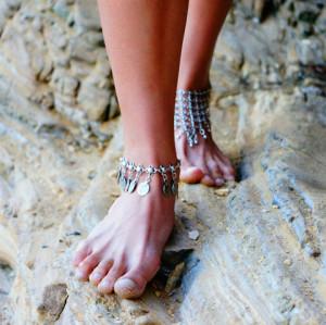 B-0388  B-0388Flower Child Silver Coin Anklet. Adjustable Handmade floral design. Boho Gypsy Beachy Ethnic Tribal Festival Jewelry Turkish Bohemian