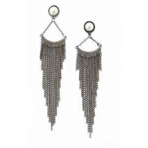 E-3483 European style pearl long tassel exaggerated dangling earrings for women