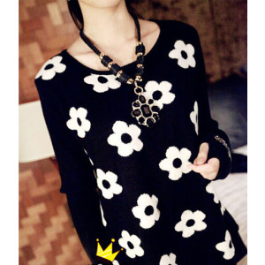 N-3791 European Style  Black Ribbon Double Chains Golden Balls Rhinestone Crystal Flower Pendant Necklace