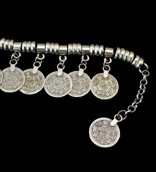 B-0498 New Bohemian Women Vintage Silver Coin Bracelet Adjustable Handmade Floral Boho Gypsy Beachy Ethnic Tribal Festival Jewelry