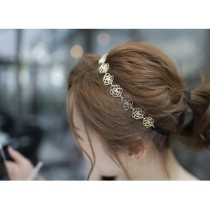 F-0008 New Comming Women hollow out silver/ gold/Bronze plated rose flower necklace/ Headband F-0008