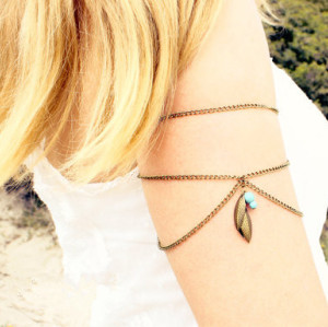 N-5465 Europe style silver gold multilayer chain blue bead leaves tassel armbamd arm chain bracelet