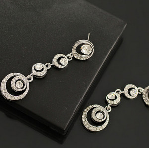 E-0306 European Fashion Silver Gold Plated Alloy Charming Rhinestone Circle Link Dangle Ear Stud Earrings