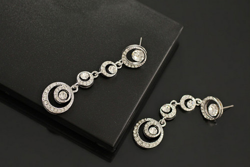 E-0306 European Fashion Silver Gold Plated Alloy Charming Rhinestone Circle Link Dangle Ear Stud Earrings