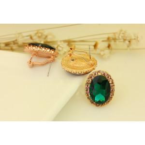 E-3029 Fashion Gold Plated Metal  Green Black Crystal Rhinestone Flower Stud Earrings
