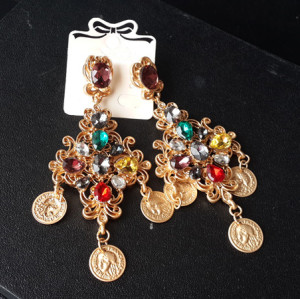 E-3440 fashion style gold plated alloy crystal coin dangle earrings