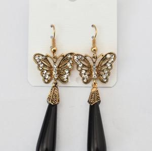 E-3469 Fashion cgold silver plated cute rhinestone butterfly drop long pendant hangling earrings
