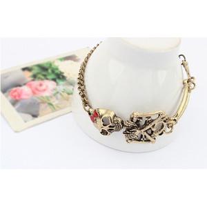 B-0103 New Vintgae Silver/Bronze Cool Skull Bracelet