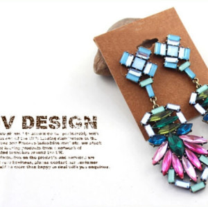 E-3252  European style bronze alloy colorful crystal drop long dangle statement luxury earrings