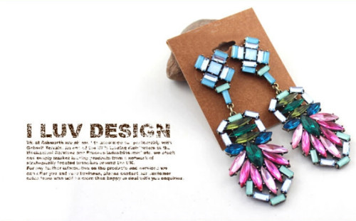 E-3252  European style bronze alloy colorful crystal drop long dangle statement luxury earrings