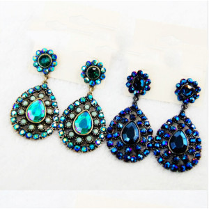 E-3344 fashion women gun black/bronze  alloy green/blue 2 colors crystal  rhinestone Dangling Earrings Jewelry