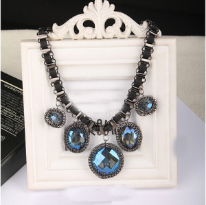 N-3919 Korea Style Summer Jewelry  Gunk Black Silk Ribbon Chain Big Round Circle blue/Champagne crystal drop Pendant Choker Necklace