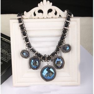 N-3919 Korea Style Summer Jewelry  Gunk Black Silk Ribbon Chain Big Round Circle blue/Champagne crystal drop Pendant Choker Necklace