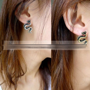 Punk retro silver bronze  tone metal double snake earring ear stud E-1195