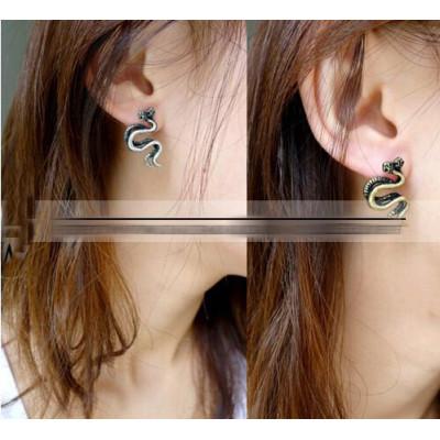 Punk retro silver bronze  tone metal double snake earring ear stud E-1195
