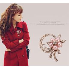 P-0163 Korean style pearl flower scarf buckle alloy rhinestone collar pin brooch