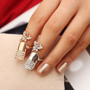 R-1205 New Arrival Women Brand Creative Jewelry Gold/Silver Plated Full Charm Rhinestone Butterfly Long Finger Tip Nail Rings