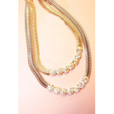 New Fashion Korea Style Gold/Silver Plated 7 Rhinestone Snake Chain Short Necklace N-0274