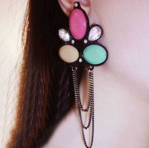 E-3247  European Style Gun Black  Acrylic Colorful Beads Crystal Rhinestone Drop Dangle Earrings