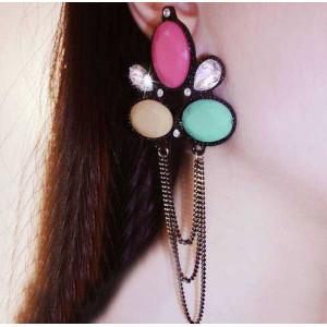 E-3247  European Style Gun Black  Acrylic Colorful Beads Crystal Rhinestone Drop Dangle Earrings