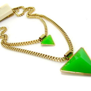 N-4273 European Punk Triangle Pendant Twins Layers Long Chain Necklace