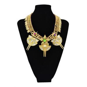 N-5514 New Design Luxury Big Statement Fashion Western Women's Punk Style Crystal Flower Metal Rivets Golden Chain Choker Necklace