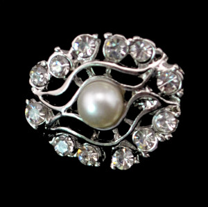 E-3488 Fashion silver rhinestone pearl flower stud earrings for women