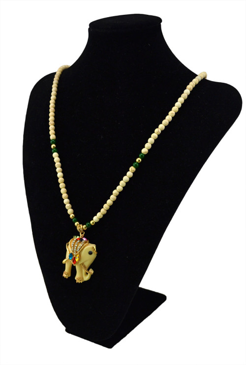 N-5511 Bohemian Simple Style Bead Long Chain Crystal Large Elephant Pendant for Women