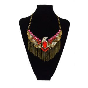N-3426 New Arrival European  Vintage  Bronze Alloy  Rhinestone Crystal  Eagle Tassels Necklace
